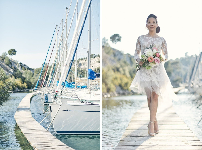 Ponton et mariée avec son bouquet dans les calanques de Cassis