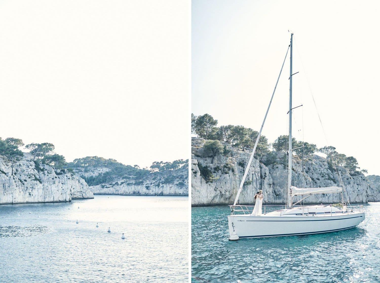 Paysage, calanque et voilier... A Cassis
