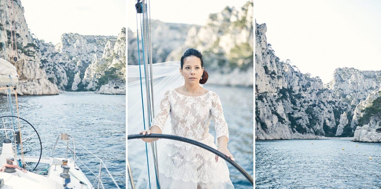 Calanque de Cassis et mariée sur un voilier