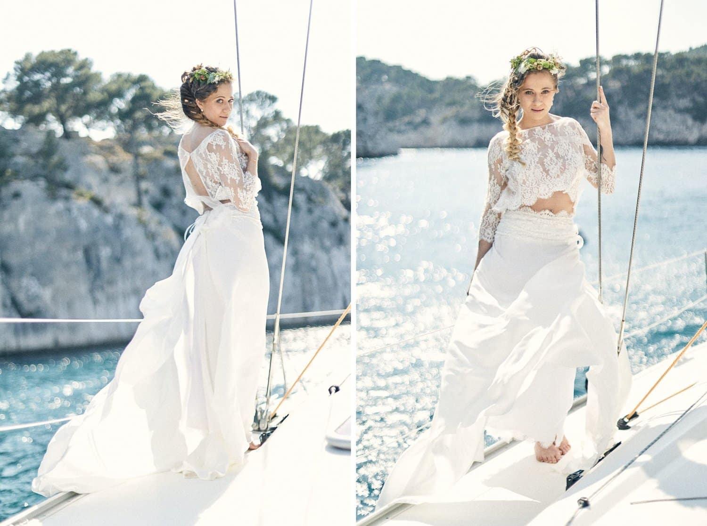 Une autre mariée sur un voilier dans les calanques de Cassis