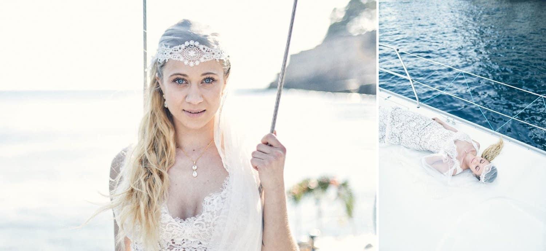 Mariée sur un voilier a Cassis