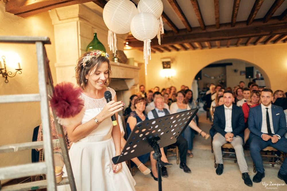 Discours de la mariée au chateau Saint-Georges